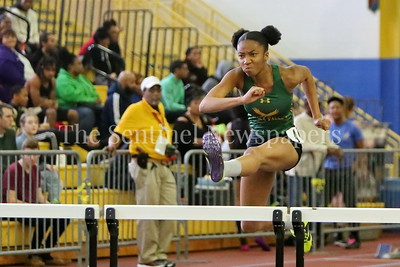 George P. Smith/The Montgomery Sentinel    Seneca Valley High School sophomore Deborah Gnoumou competing in Division 2A Girls 55 Meter Hurdles at the State Indoor Track & Field Championship Meet held at the Prince George's Sports and      Learning Center in Landover, MD on Monday February 19, 2018.