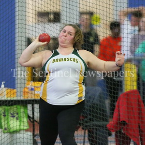 George P. Smith/The Montgomery Sentinel    Damascus High School's Mallory Anderson in the Girls 2A Division Shot Put  at the State Indoor Track & Field Championship Meet held at the Prince George's Sports and Learning Center in Landover, MD on Monday February 19, 2018.