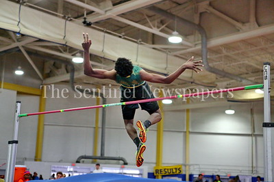 George P. Smith/The Montgomery Sentinel    Seneca Valley High School's Jamal Snowden in the Boys 2A Division High Jump at the State Indoor Track & Field Championship Meet held at the Prince George's Sports and Learning Center in Landover, MD on Monday February 19, 2018.