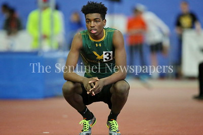 George P. Smith/The Montgomery Sentinel    Seneca Valley High School's Jamal Snowden contemplating his next jump in the Boys 2A Division High Jump at the State Indoor Track & Field Championship Meet held at the Prince George's Sports and Learning Center in Landover, MD on Monday February 19, 2018.