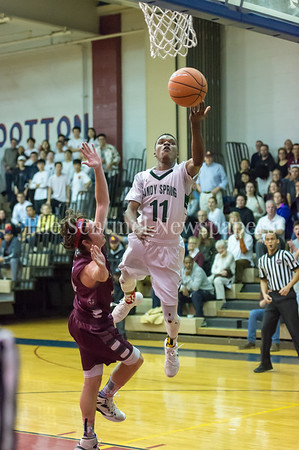 2/24/2018 - Mikey Parker (11) scoring 2 of his 35 points in the PVAC Championship, St. Anselm's Abbey v Sandy Spring Friends, ©2018 Jacqui South Photography