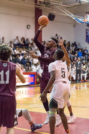 2/24/2018 - Jimi Olopade (21) shoots a floater in the lane in the PVAC Championship, St. Anselm's Abbey v Sandy Spring Friends, ©2018 Jacqui South Photography