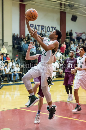 2/24/2018 - Ben Uzell (22) scores a layup in the PVAC Champtionship, St. Anselm's Abbey v Sandy Spring Friends, ©2018 Jacqui South Photography