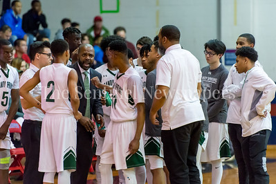 2/24/2018 - Coach Carl Parker with the Beests during a timeout, St. Anselm's Abbey v Sandy Spring Friends - PVAC Championship, ©2018 Jacqui South Photography