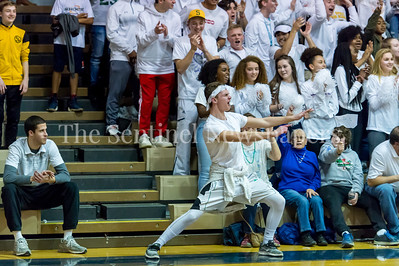 2/24/2018 - Sandy Spring Friends School fans getting into the action at the PVAC Championship game between St. Anselm's Abbey v Sandy Spring Friends, ©2018 Jacqui South Photography