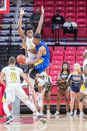 3/8/2018 - Gaithersburg senior guard Kevin Neal (3) runs into the brick wall that is Perry Hall senior forward Anthony Higgs (24), Gaithersburg v Perry Hall Boys 4A Semifinals, ©2018 Jacqui South Photography