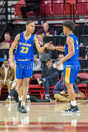 3/8/2018 - Gaithersburg teammates freshman guard Jordan Hawkins (23) & senior guard Jordan Graham (2), Gaithersburg v Perry Hall Boys 4A Semifinals, ©2018 Jacqui South Photography