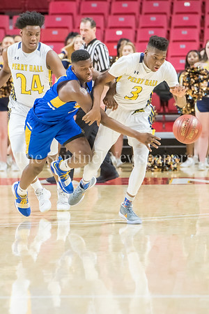 3/8/2018 - Gaithersburg sophomore forward Chris Kouemi (24) & Perry Hall junior forward Anthony Walker (3) go after a loose ball, Gaithersburg v Perry Hall Boys 4A Semifinals, ©2018 Jacqui South Photography