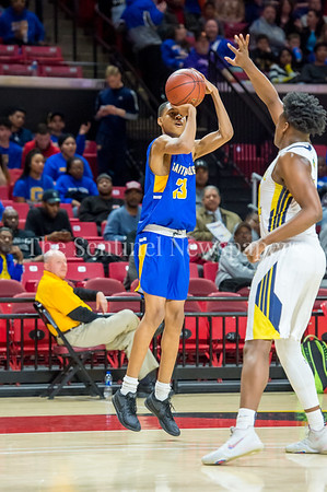 3/8/2018 - Gaithersburg freshman guard Jordan Hawkins (23) shoots a 3-point shot over the hand of Perry Hall defender senior forward Anthony Higgs (24), Maryland 4A Boys Semifinal, Gaithersburg v Perry Hall, ©2018 Jacqui South Photography