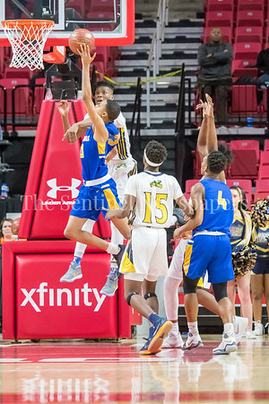 3/8/2018 - Gaithersburg freshman guard Jordan Hawkins (23) attempts a shot over Perry Hall junior forward Anthony Walker (3), Gaithersburg v Perry Hall Boys 4A Semifinals, ©2018 Jacqui South Photography
