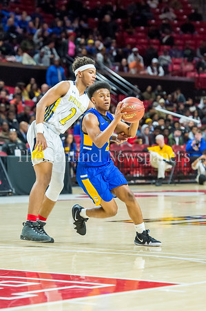 3/8/2018 - Gaithersburg senior guard Jordan Graham (2) looks to pass as Perry Hall defender senior guard Xavier Gravette (2) tries to steal the ball from behind, Maryland 4A Boys Semifinal, Gaithersburg v Perry Hall, ©2018 Jacqui South Photography