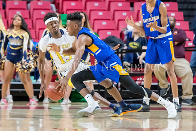 3/8/2018 - Gaithersburg senior guard Kevin Neal (3) guarded by Perry Hall senior guard Tyler Holley (15), Gaithersburg v Perry Hall Boys 4A Semifinals, ©2018 Jacqui South Photography
