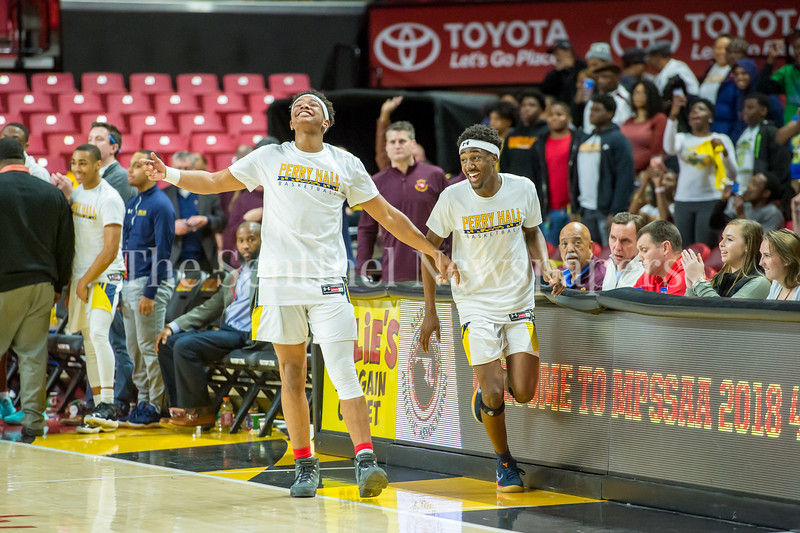 3/8/2018 - Perry Hall senior guard Xavier Gravette (2) & senior guard Tyler Holley (15) are all smiles as the Gators defeat the Gaithersburg Trojans 85-62 in the Maryland 4A Boys Semifinal, Gaithersburg v Perry Hall, ©2018 Jacqui South Photography