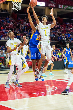 3/8/2018 - Perry Hall senior forward Laquill Hardnett (1)pulls down a defensive rebound in the Maryland 4A Boys Semifinal, Gaithersburg v Perry Hall, ©2018 Jacqui South Photography