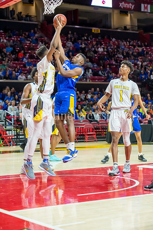 3/8/2018 - Gaithersburg sophomore forward Chris Kouemi (24) shoots over Perry Hall junior forward Anthony Walker (3), Maryland 4A Boys Semifinal, Gaithersburg v Perry Hall, ©2018 Jacqui South Photography
