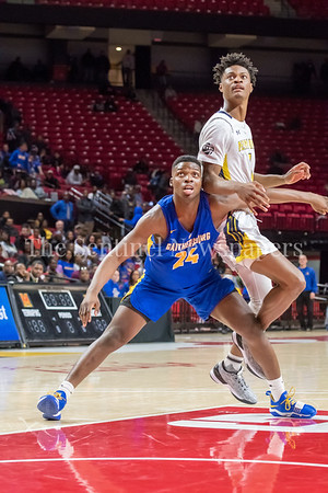 3/8/2018 - Gaithersburg sophomore forward Chris Kouemi (24) & Perry Hall senior forward Laquill Hardnett (1), Gaithersburg v Perry Hall Boys 4A Semifinals, ©2018 Jacqui South Photography