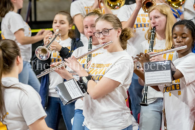 3/8/2018 - Gaithersburg band plays the National Anthem before the 4A boys semifinal game between Gaithersburg and Perry Hall high schools, ©2018 Jacqui South Photography