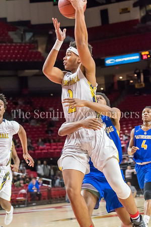 3/8/2018 - Perry Hall senior guard Xavier Gravette (2) is (hugged) fouled by Gaithersburg senior guard Jordan Graham (2), Gaithersburg v Perry Hall Boys 4A Semifinals, ©2018 Jacqui South Photography