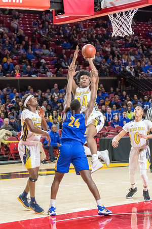 3/8/2018 - Perry Hall senior forward Anthony Higgs (24) shoots over Gaithersburg sophomore forward Chris Kouemi (24), Gaithersburg v Perry Hall Boys 4A Semifinals, ©2018 Jacqui South Photography