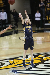 George P. Smith/The Montgomery Sentinel    Bethesda-Chevy Chase High School's Charlotte Lowndes was uncharacteristically 0-6 from beyond the arc, likely a result of having a hand in her face most of the day.