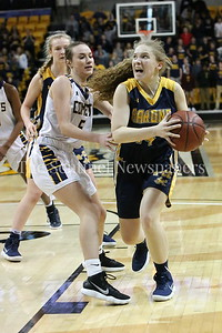 George P. Smith/The Montgomery Sentinel    Bethesda-Chevy Chase High School's Stephanie Howell (#14) showed grit down the stretch in a loosing effort that saw the Barons fall to Catonsville High School in the State semifinal game played at at Towson University on March 8, 2018.