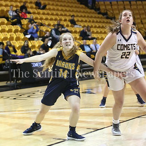 George P. Smith/The Montgomery Sentinel    Bethesda-Chevy Chase High School's Stephanie Howell (#14) is intense in boxing out Catonsville High School's Maddi McLean (#22)