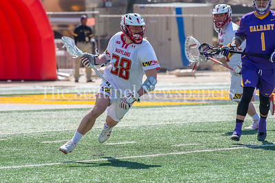 3/10/2018 - Maryland middie Roman Puglise (38), Albany v Maryland Men's Lacrosse, ©2018 Jacqui South Photography
