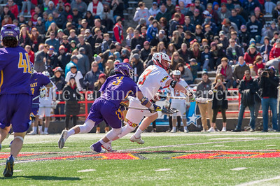 3/10/2018 - Maryland face off Justin Shockey (3) & Albandy face off TD Ierlan (3), Albany v Maryland Men's Lacrosse, ©2018 Jacqui South Photography