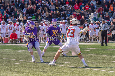3/10/2018 - Maryland middie Adam DiMillo (23) winds up for a shot, Albany v Maryland Men's Lacrosse, ©2018 Jacqui South Photography