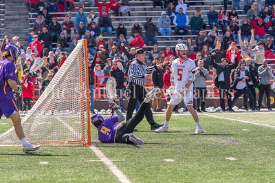 3/10/2018 - Maryland middie Will Snider (5) reacts to a 2nd quarter goal by teammate Adam DiMillo, Albany v Maryland Men's Lacrosse, ©2018 Jacqui South Photography