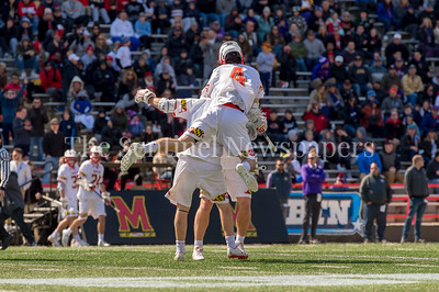 3/10/2018 - Maryland Terps had a lot to celebrate early in the game against Albany scoring 6 goals in the first half, Albany v Maryland Men's Lacrosse, ©2018 Jacqui South Photography