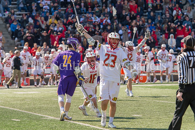 3/10/2018 - middie Adam DiMillo (23) celebrates scoring a goal in the 2nd quarter putting the Terps ahead 4-2, Albany v Maryland Men's Lacrosse, ©2018 Jacqui South Photography