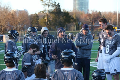 George P. Smith/The Montgomery Sentinel    With Georgeown Prep training Gonzaga 5-3 at halftime, Prep Head Coach Scott Urick remained optimistic telling the boys they could catch up in the second half - his optimism was well placed as the Little Hoya's defeted Gonzaga 7-6 in overtime.