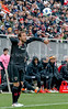 DC United's Nick DeLeon inbounds the ball during the 1st half - just before the snow arrived. PHOTO BY MIKE CLARK