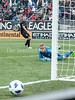 DC United's Goalkeeper David Ousted watches helplessly as this shot attempt grazes the goal post and continues wide. PHOTO BY MIKE CLARK