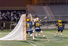 3/23/2018 - Richard Montgomery attack Kaden Hoffman (15) shoots over B-CC long stick middie Taylor Hermes (20) & long stick middie Kyle Ramos (24),  B-CC v Richard Montgomery Boys Lacrosse, ©2018 Jacqui South Photography