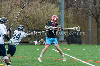 3/28/2018 - Einstein senior attack/middie Garrett Kerns (4) with a shot in a game against Magruder in the spring break tournament at Blair High School, ©2018 Jacqui South Photography