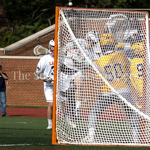Landon's star Attackman Joseph Epstein score top shelf against Bullis Goalie Jack Fracyon. Esptein has committed to play Division I Lacrosse at Johns Hopkins University. PHOTO BY MIKE CLARK