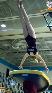 Walt Whitman's Elanor Taylor nails this vault in the meet with Blair and Blake High Schools. PHOTO BY MIKE CLARK