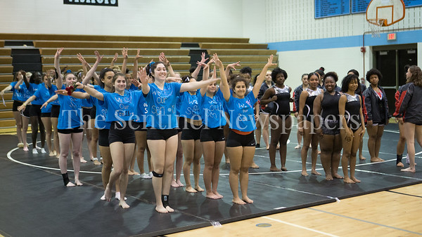 Host Walt Whitman High School wins the Gymnstics Meet against Blake and Blair HS. PHOTO BY MIKE CLARK