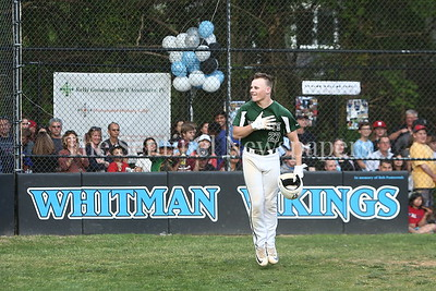 George P. Smith/The Montgomery Sentinel    Damascus High School's Ethan Wentzlaff (27) celebrates after taking the 1st pitch of the game for a home run.