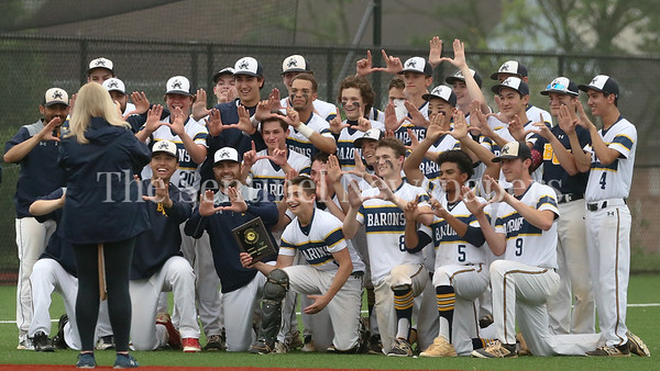 The Bethesda-Chevy Chase Barons celebrate their Regional Champioship win over Quince Orchard. BCC advances to the state semi-finals for the first time since 1989. PHOTO BY MIKE CLARK