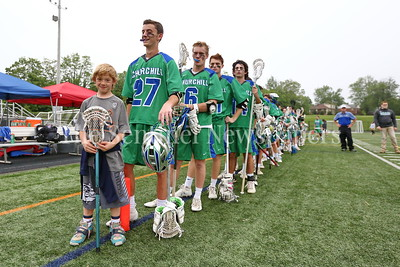 George P. Smith/The Montgomery Sentinel    Jackson Fritz at the head of the line during the National Anthem. Churchill High School defeated Howard High School 14-4  to advance to the State Final in a rematch of last years pairing against Severna Park High School starting at 8PM on Wednesday, May 23, 2018 at Stevenson University's Mustang Stadium in Owings Mill, MD       https://www.mpssaa.org/2018-boys-and-girls-lacrosse-state-finals-match-ups-set-for-tuesday-522-through-thursday-524/