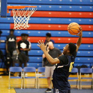 George P. Smith/The Montgomery Sentinel    Good Counsel's Jalen Curtis (46) during warmups before the Capitol Hoops Summer League game played Saturday, June 9, 2018 at DeMatha Catholic High School.