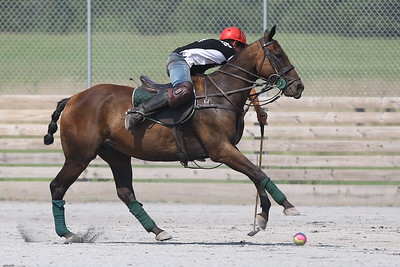 George P. Smith/The Montgomery Sentinel    Lautaro Garcia tries to strike the ball on the near-side during a polo match at the Congressional Polo Club in Poolesville, Maryland on Sunday, August 5, 2018.