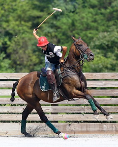 George P. Smith/The Montgomery Sentinel    Lautaro Garcia about to strike the ball on the off-side during a polo match at the Congressional Polo Club in Poolesville, Maryland on Sunday, August 5, 2018.