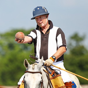 George P. Smith/The Montgomery Sentinel    Referee Sid Miller about to put the ball in play (bowl-in) during a polo match at  the Congressional Polo Club on Sunday, August 5, 2018.