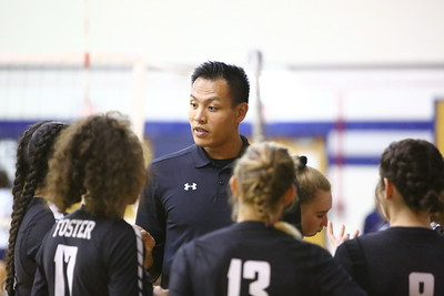 George P. Smith/The Montgomery Sentinel    Northwood High School coach Phuong Tat talking to his players during a time out during the game against Col. Zadok A. Magruder High School played at Magruder on Monday, September 24, 2018.