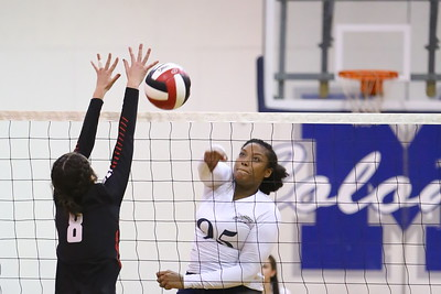 George P. Smith/The Montgomery Sentinel    Col. Zadok A. Magruder High School's Kaliah Moss (95) with the kill against Northwood High School during the game played at Magruder on Monday, September 24, 2018.