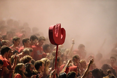 Montgomery Blair students shoot pink powder balls into the stands to celebrate Homecoming. Blair beat Einstein 20-0. PHOTO BY MIKE CLARK